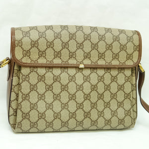 GUCCI GG Pattern PVC Canvas Crossbody Shoulder Bag Purse Brown Beige JUNK