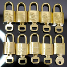 Load image into Gallery viewer, LOUIS VUITTON Padlock Lock Key for Bags Brass Gold Color 10 Pieces Set