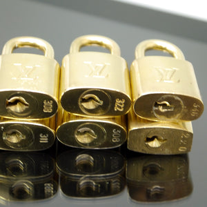 LOUIS VUITTON Padlock Lock Key for Bags Brass Gold Color 10 Pieces Set