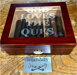 50 stick humidor - Cherry Glasstop finish - God Loves the Ques
