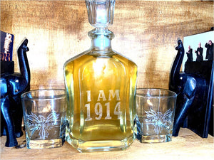 750 ml Decanter Set - Brickhouse 1914 Decanter with Sigma chapter double old fashioned glasses