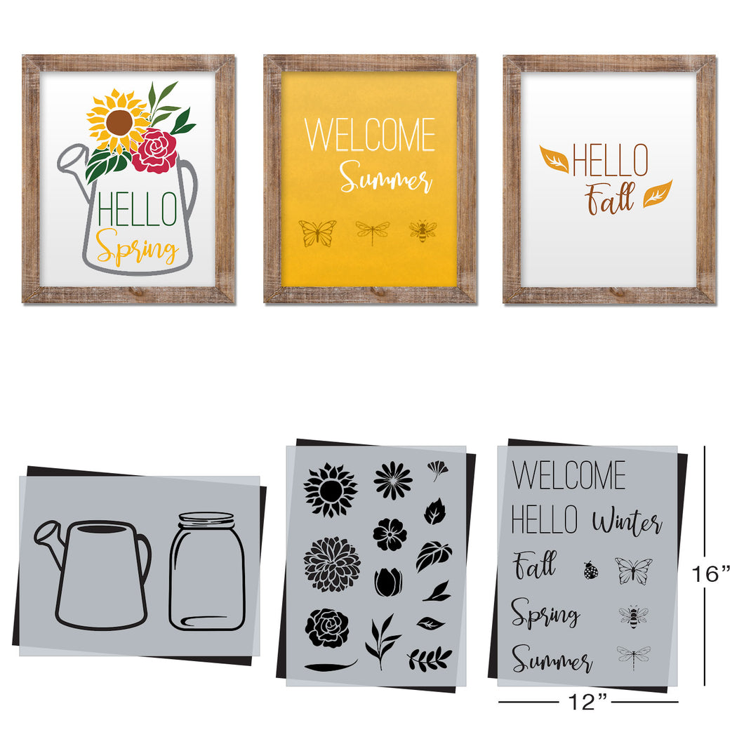 SOTMC - March 2020: Flowers, Mason Jar & Watering Can Stencil Set