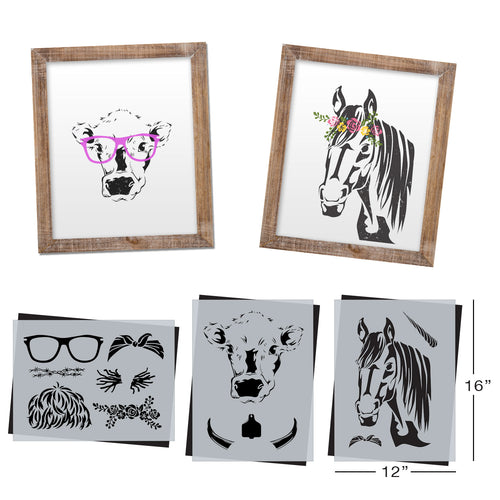 SOTMC - April 2020: Cow and Horse Head with Accessories Stencil Set by Melissa Miller