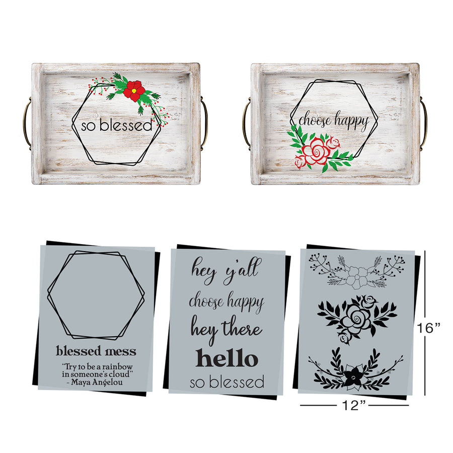 SOTMC - December 2020: Hexagon Wreath with Choose Happy Stencil Set by Grace Kurtz