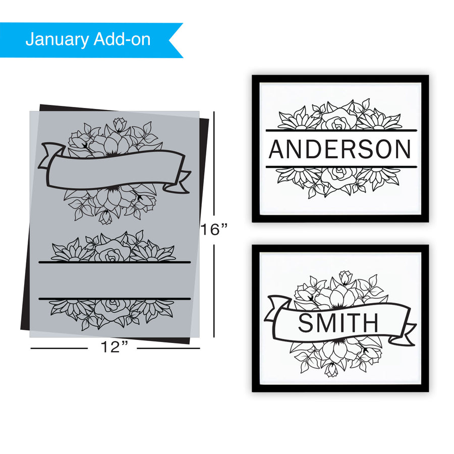SOTMC - January 2021: Floral Banner Stencil (add-on)