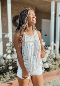 Resort Floral Print Flowy Tank Top