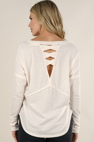 long sleeve v neck thermal blush adored boutique