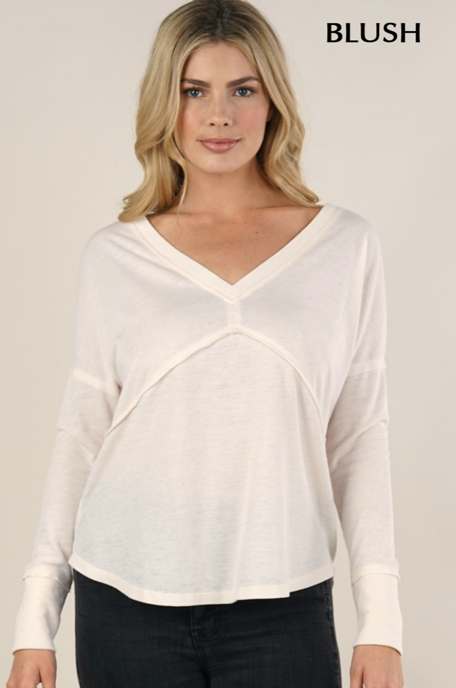 long sleeve v neck thermal adored boutique