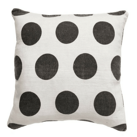 Cream Linen Polka Dot Pillow