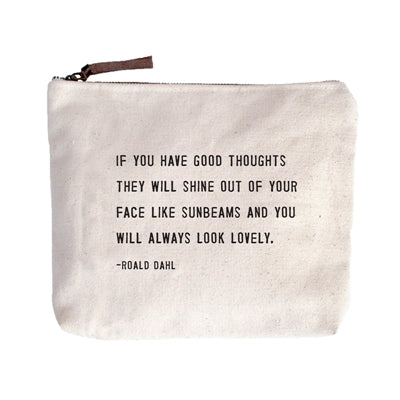 Canvas Zip Bag - Always Look Lovely - Adored A Lovely Boutique