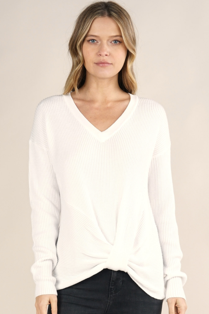 white thermal sweater adored boutique