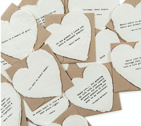 Mini Deckled Heart Shaped Cards