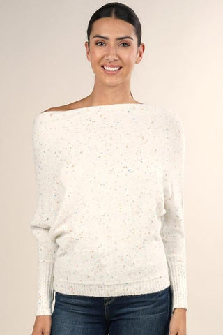Speckled Boat Neck Sweater