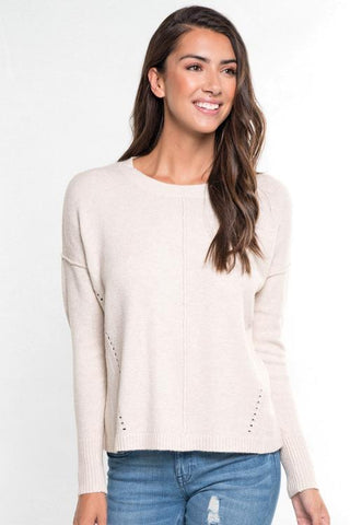 pointelle crew neck sweater adored boutique
