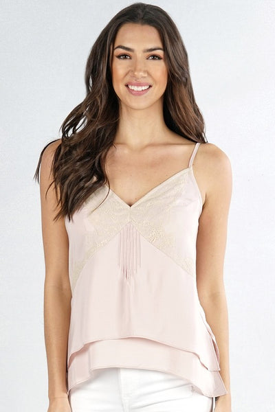 Lingerie Inspired Tiered Lace Trim Camisole