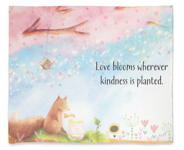 Plush Fleece Blanket 50 x 60 - Love Blooms