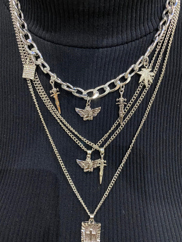 Silver Multi Punk Charm Necklace