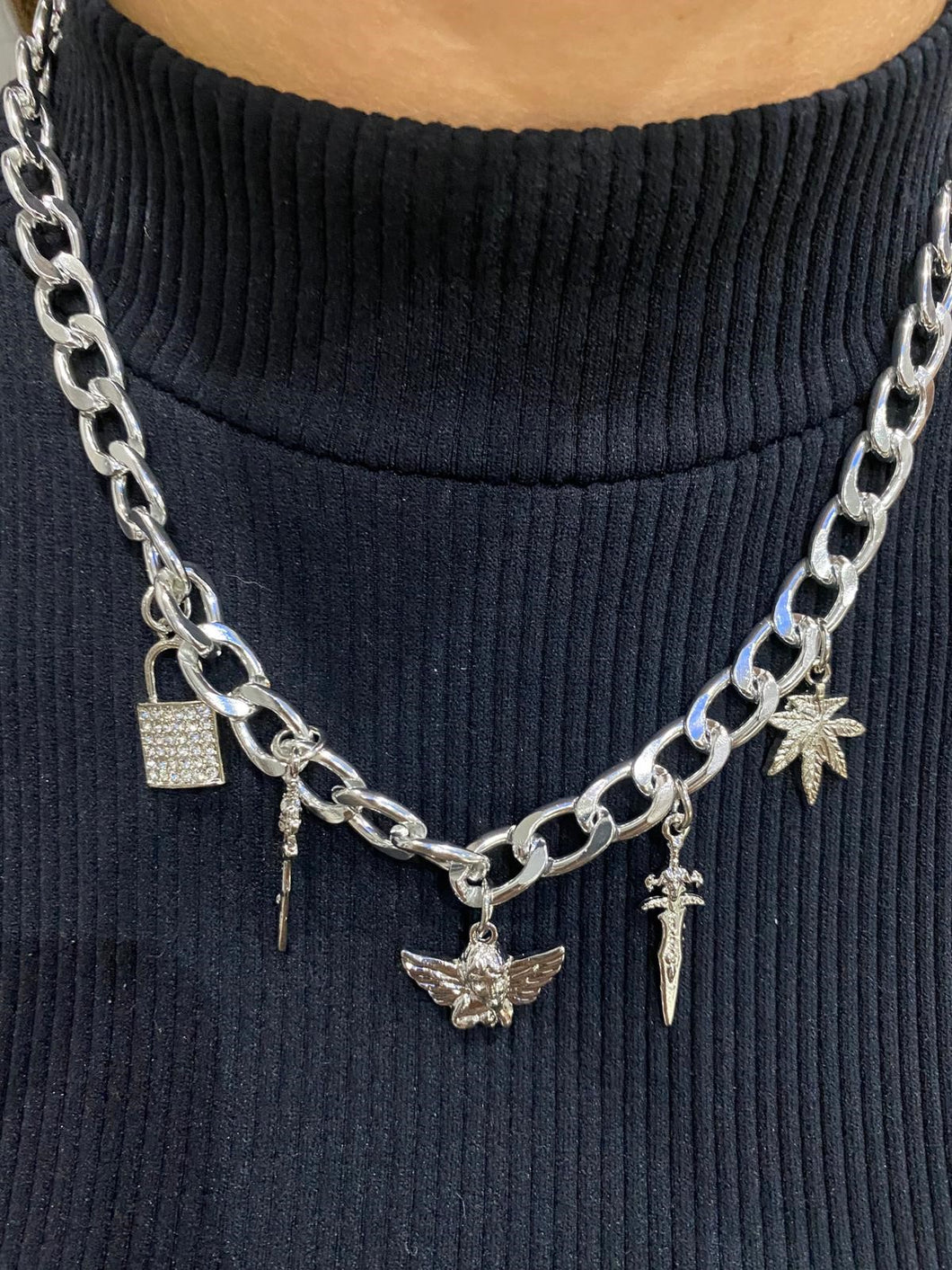 Silver Single Punk Charm Necklace