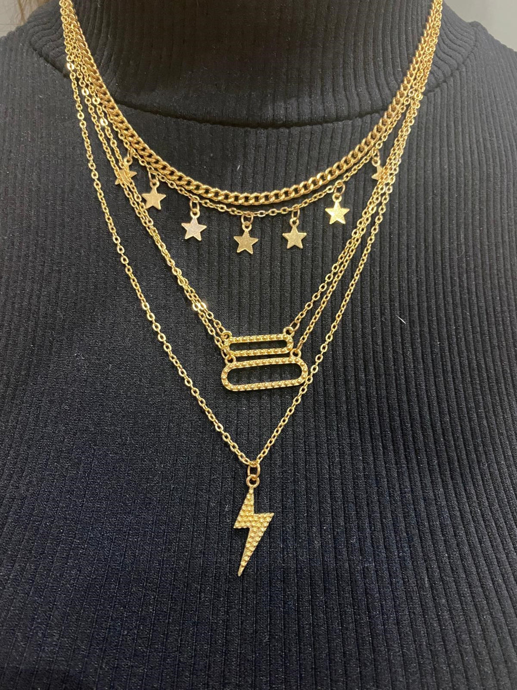 Retro Multi-element Lighting Star Necklace
