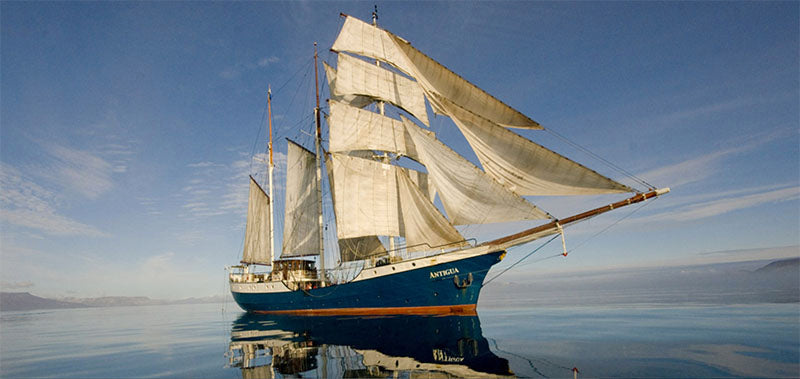 S/V Antigua, the three-masted sailing barque you'll explore Svalbard on