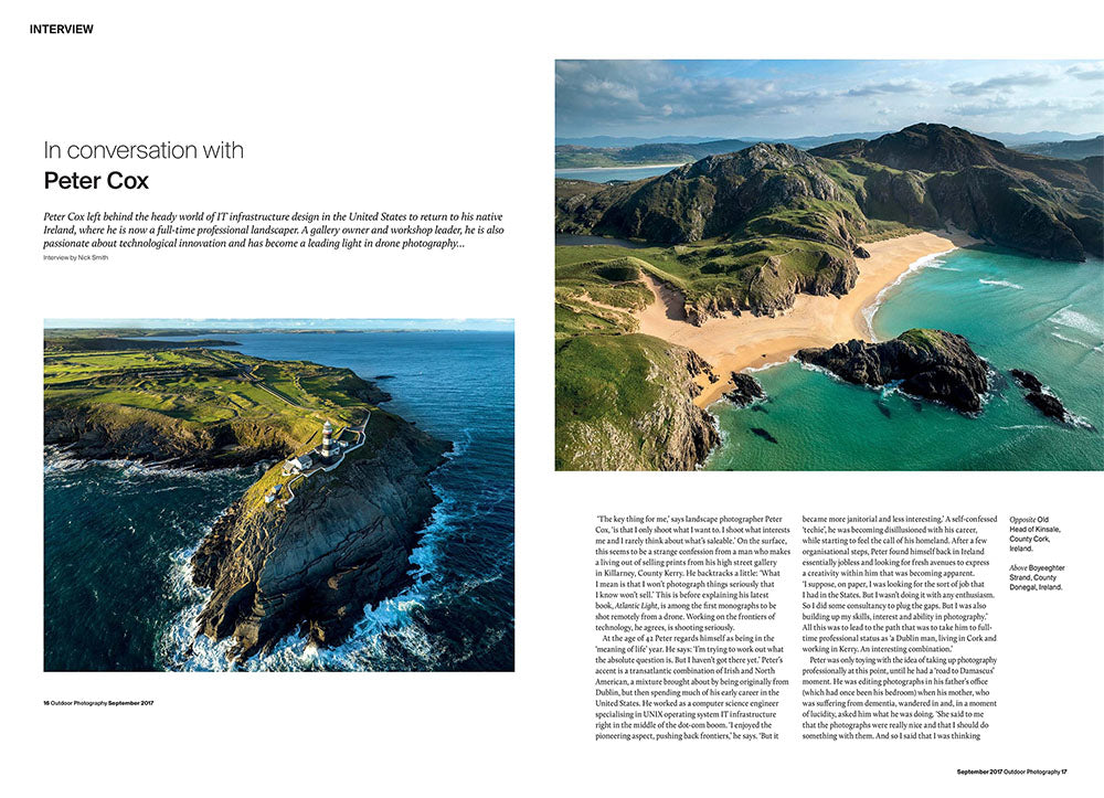 First two pages of an interview profile with Peter Cox in Outdoor Photography magazine, August 2017