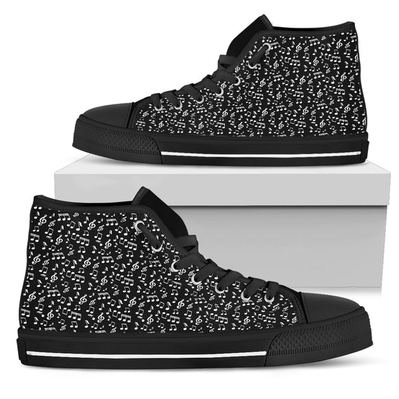 Womens High Top Canvas Shoes. Black Music Note Design. Black Sole