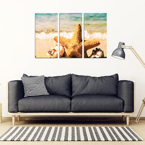 Beach Scene 3 Piece Framed Canvas