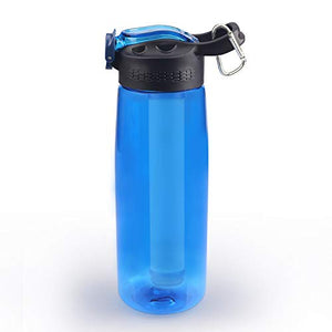 SimPure Water Filter Bottle, Emergency Water Purifier with 4-Stage Integrated Filter Straw for Travel, Camping, Hiking, Backpacking, BPA Free