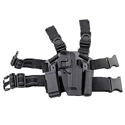 LIVIQILY Tactical Leg Holster Right Hand Paddle Thigh Belt Drop Pistol Gun Holster w/Magazine Torch Pouch for Glock 17 19 22 23 31 32 (Black)