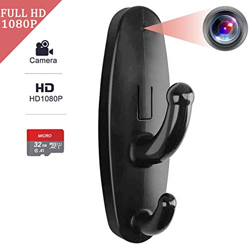Seahon Hidden Camera Clothes Hook with 32GB SD Card Mini Spy Camera HD 1080P Tiny Black Nanny Cam for Home Security,Mini Spy Camera with Motion Detector and Loop Recording No Audio