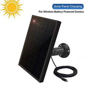 Weatherproof Solar Panel for Indoor/Outdoor Battery Powered Security Camera, Solar Panel Power Supply for ViewZone Wireless Security Camera, 5V 1A Micro USB Port, Adjustable Mounting Bracket