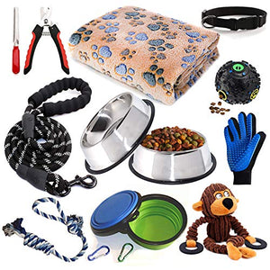 Puppy Starter Kit,12 Piece Dog Supplies Assortments,Set Includes:Dog Toys/Dog Bed Blankets/Puppy Training Supplies/Dog Grooming Tool/Dog Leashes Accessories/Feeding
