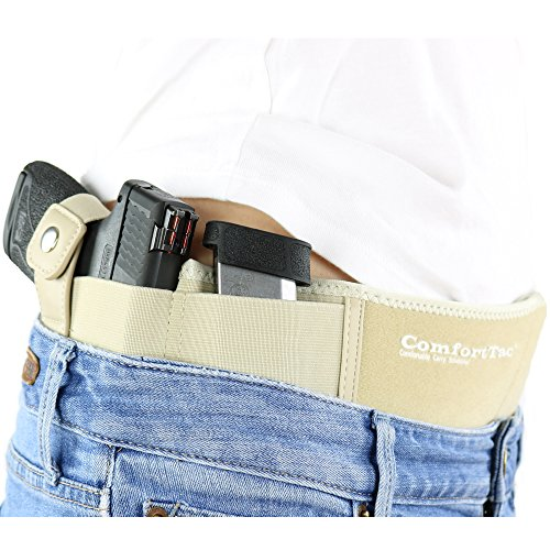 ComfortTac Ultimate Belly Band Holster 2.0 - New 2017 - Fits Glock 19 43 26 Smith and Wesson MP Shield Bodyguard Ruger LC9 Sig Sauer More - Carry IWB OWB Appendix (XL (Belly: Up to 53