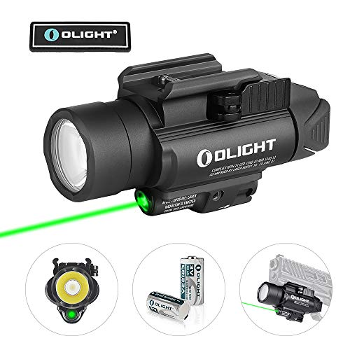 OLIGHT Baldr Pro 1350 Lumens Tactical Weaponlight with Green Beam, 260 Meters Beam Distance Compatible with 1913 or Glock Rail, Powered by 2 x CR123A Batteries (Black)