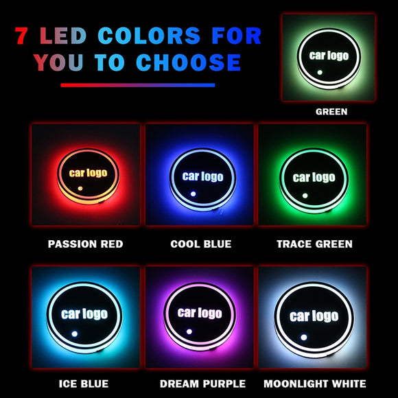 CARLitek Car Led Cup Holder Pads Light Mats Bottle Coasters 7 Colors