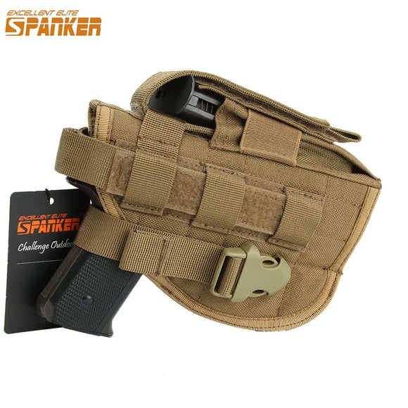 EXCELLENT ELITE SPANKER Outdoor Military Universal Molle Buckle Pistol Holster Hunting Training Camo Tactical Nylon Gun Holsters