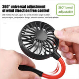 Neck Band Fan Portable Mini Double Wind Head Neckband Fan with USB Rechargeable Air Cooler for Traveling Outdoor Office Portable