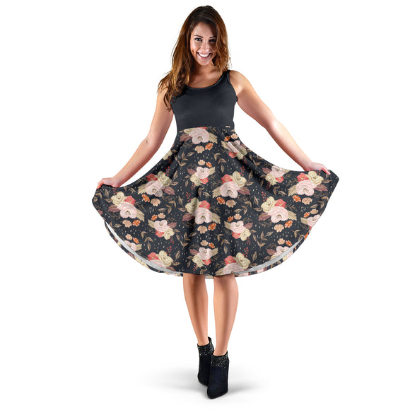 Autumn Fall Floral 2Tone - Women's Midi Dress