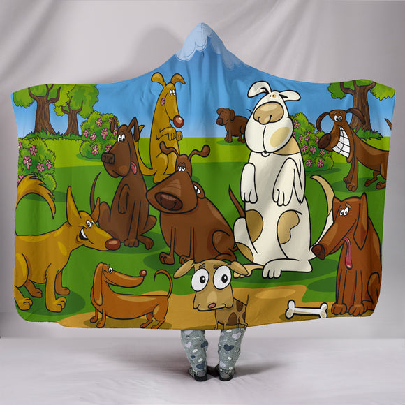 Cartoon dogs Hooded Blanket