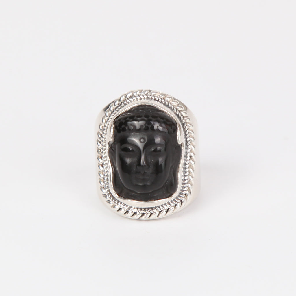 Obsidian Buddha Head Ring with Sterling Silver Smooth