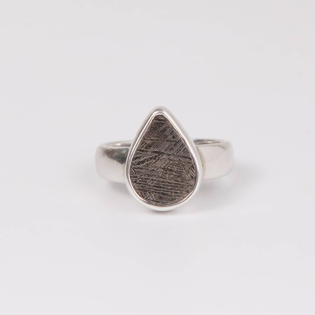 Sterling Silver Ring with Iron Nickle Meteorite Triangle
