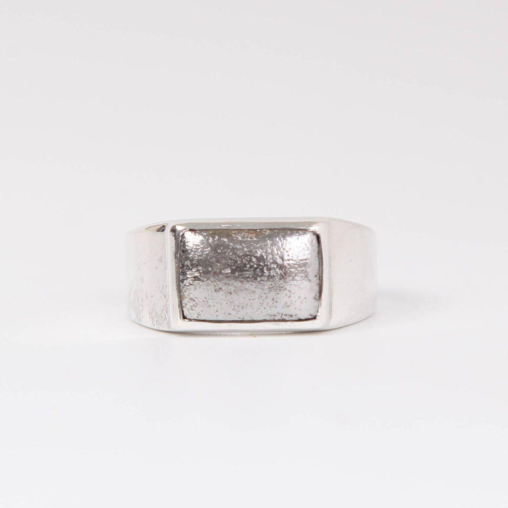 Sterling Silver Ring with Iron Nickle Meteorite Square