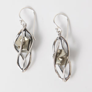 Pyrite Earrings with Sterling Silver