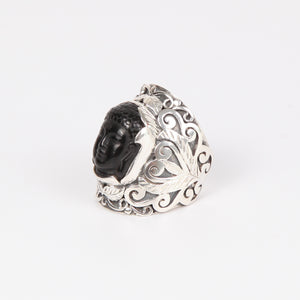 Obsidian Buddha Head Ring with Sterling Silver