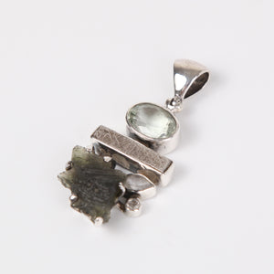 Iron Nickle Meteorite Pendant with Green Amethyst, Moldavite, White Topaz and Sterling Silver