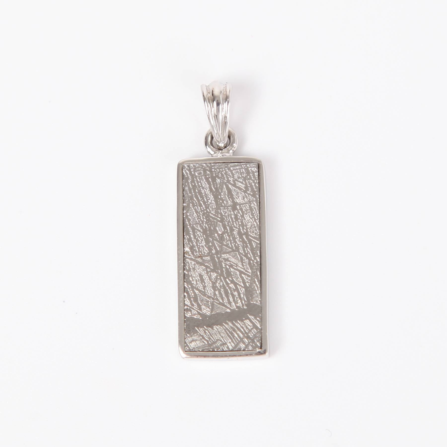 Iron Nickle Meteorite Pendant with Sterling Silver Long