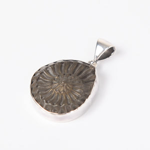 Pyrite Ammonite Pendant with Sterling Silver