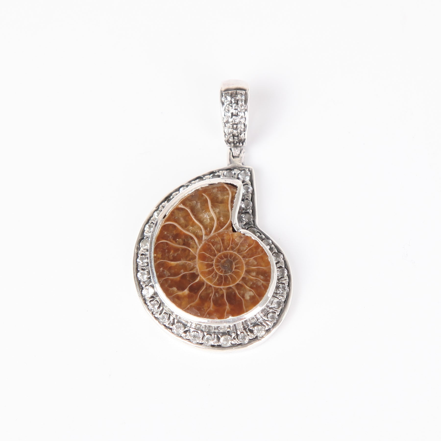 Ammonite Pendant with Zircon and Sterling Silver