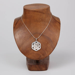 Mother of Pearl (Flower of Life) Pendant with Sterling Silver