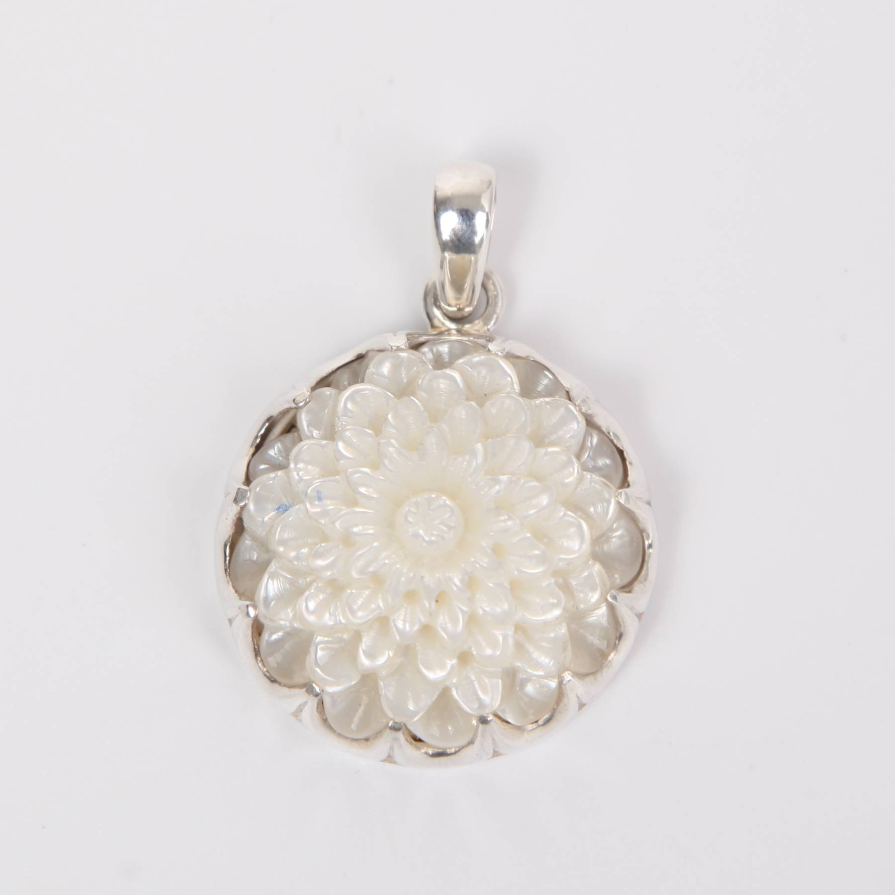 Mother of Pearl Flower Curved Pendant with Sterling Silver White Detailed